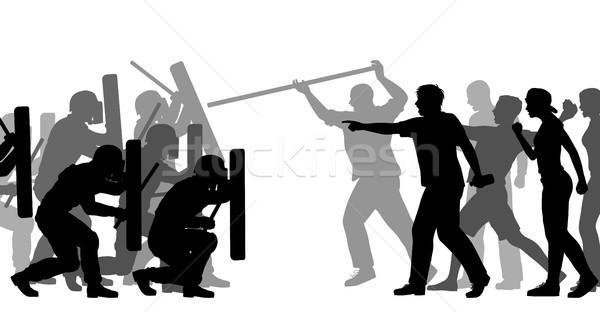 Antidisturbios policía atacar vector Foto stock © Tawng