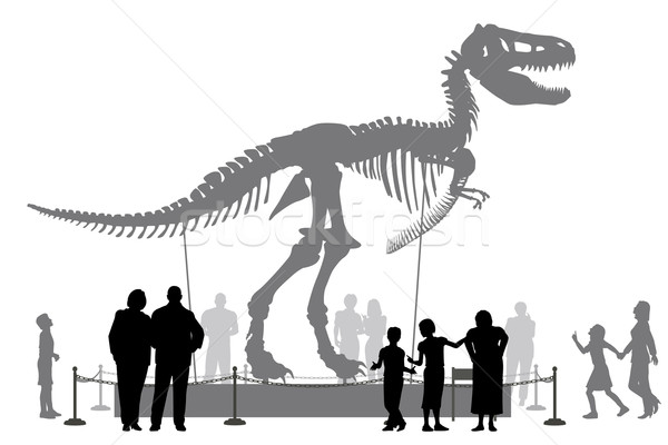 Dinozor müze düzenlenebilir vektör siluetleri insanlar Stok fotoğraf © Tawng