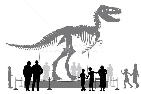 Dinosaurio museo vector siluetas personas Foto stock © Tawng