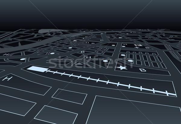 Sötét utcatérkép vektor általános éjszakai város út Stock fotó © Tawng