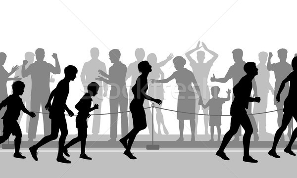 Stockfoto: Marathon · aanmoediging · vector · illustratie