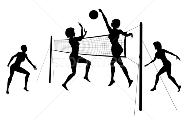 Illustration Abstract Volleyball Player Silhouette: Beach Volleyball Vector Illustration © Robert Adrian