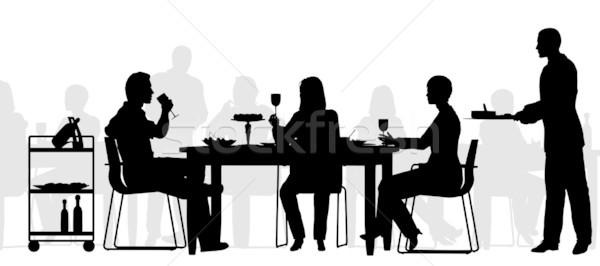 Restaurant Szene editierbar Vektor Silhouette Menschen Stock foto © Tawng