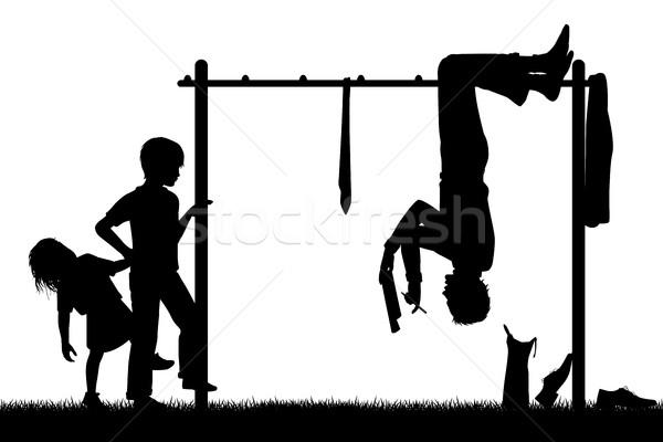 Különböző nézőpont szerkeszthető vektor sziluett férfi Stock fotó © Tawng