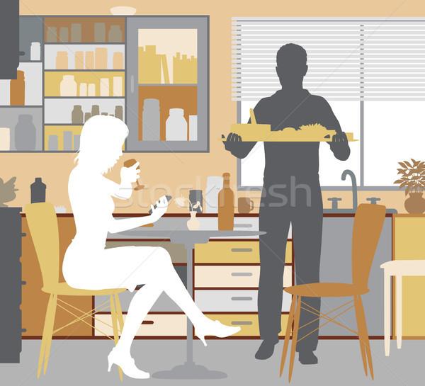 Stok fotoğraf: Ev · düzenlenebilir · kadın · hizmet · gıda · adam