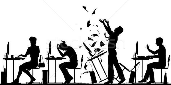 Kantoormedewerker opstand illustratie vector silhouet Stockfoto © Tawng