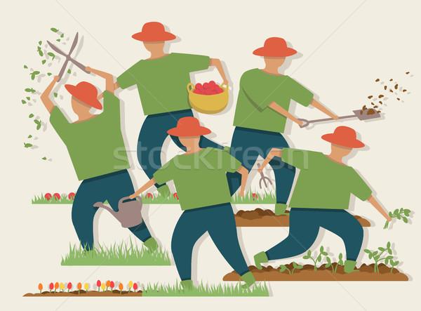 Busy gardener illustration Stock photo © Tawng