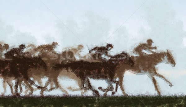 Horse racing Stock photo © Tawng