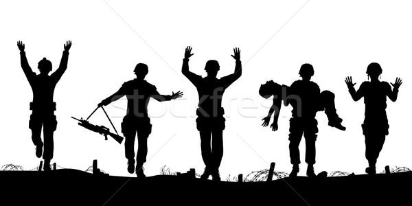 Soldaten vector silhouetten verslagen mannen Stockfoto © Tawng