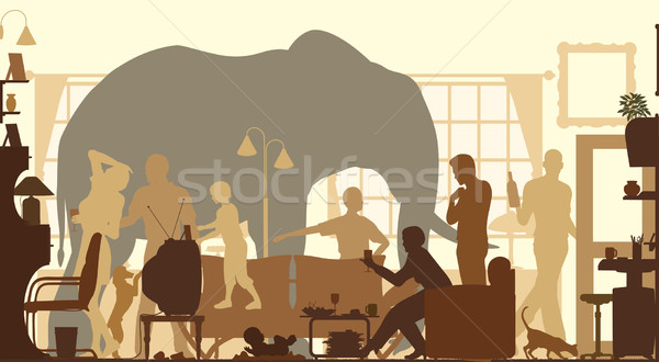 Living room elephant Stock photo © Tawng