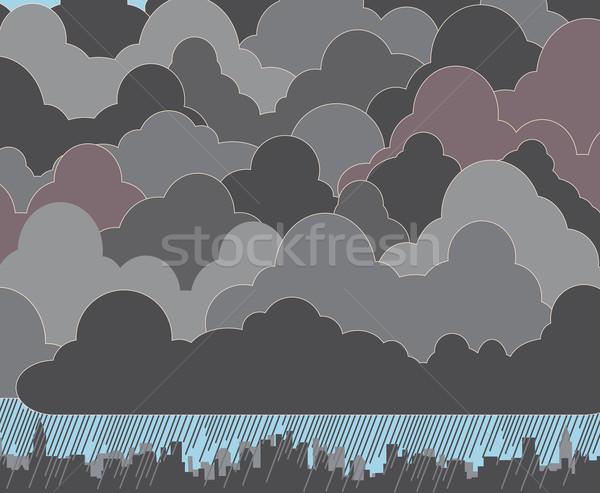 Felhős szerkeszthető felhők eső város sziluett Stock fotó © Tawng