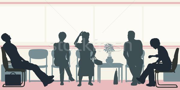 Sala de espera vector siluetas personas sesión Foto stock © Tawng