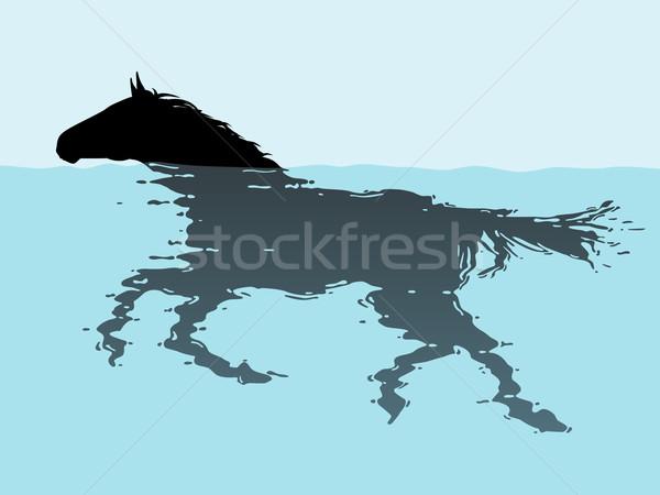 Swimming horse Stock photo © Tawng