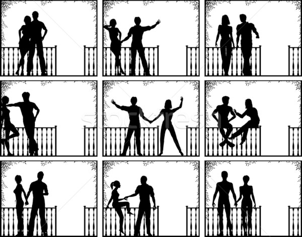 Veranda emberek szett szerkeszthető vektor illusztrációk Stock fotó © Tawng