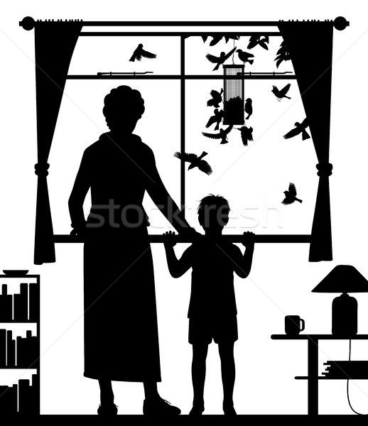 Woman and child watching birds Stock photo © Tawng