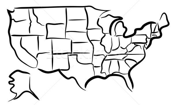 USA croquis carte vecteur pays Photo stock © Tawng