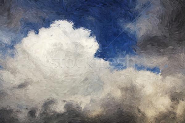 Nuvens pintura blue sky céu natureza arte Foto stock © Tawng