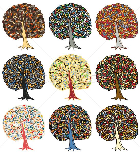 Coloré arbres couleur vecteur Photo stock © Tawng