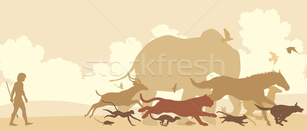 Animals fleeing man Stock photo © Tawng