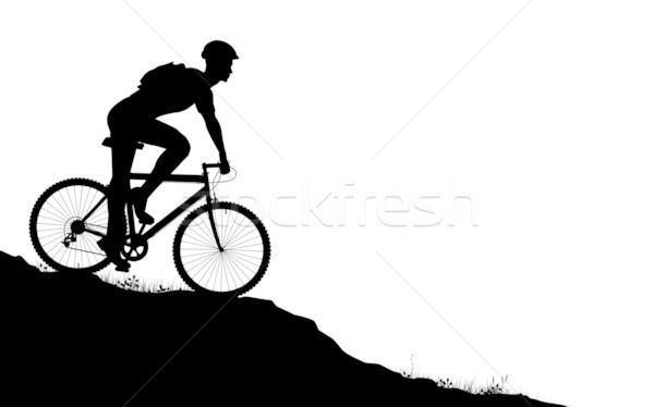 Montagne vecteur premier plan silhouette homme Photo stock © Tawng