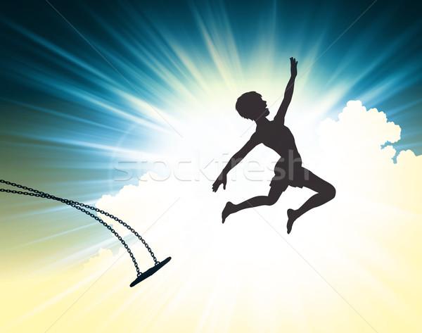 прыжок веры иллюстрированный силуэта Сток-фото © Tawng