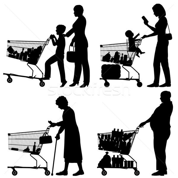 супермаркета вектора люди торговых Сток-фото © Tawng