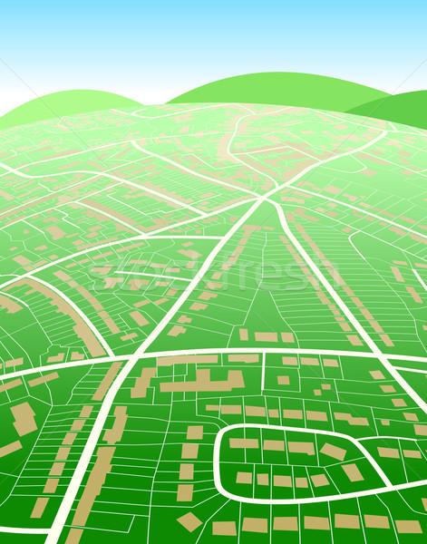 Föld térkép szerkeszthető általános utcatérkép zöld Stock fotó © Tawng