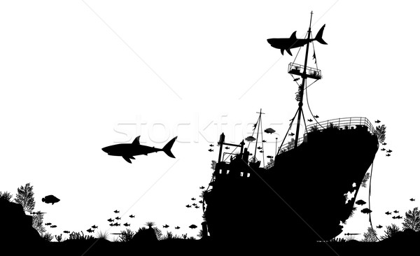 Hajóroncs szerkeszthető vektor sziluett előtér korall Stock fotó © Tawng