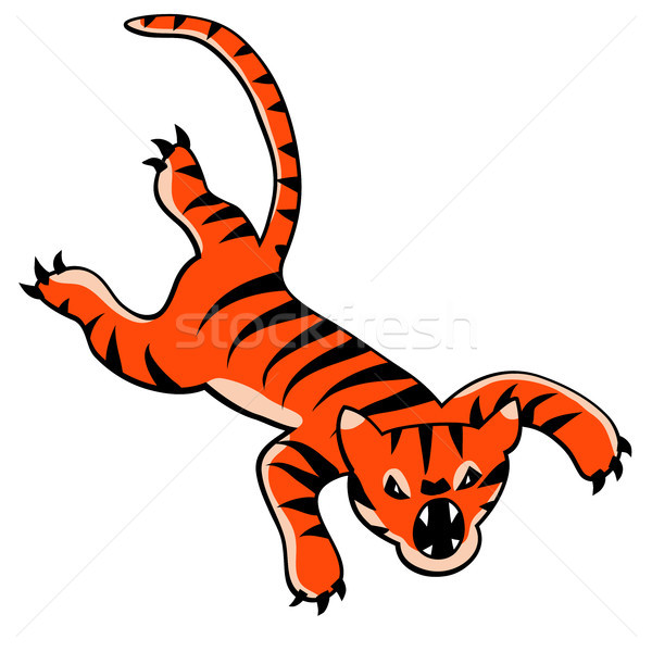 Leaping tiger cartoon Stock photo © Tawng