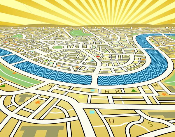 観点 地図 市街地図 風景 道路 ストックフォト © Tawng