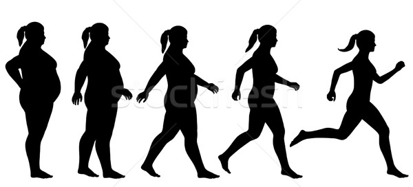 Fat to fit woman Stock photo © Tawng