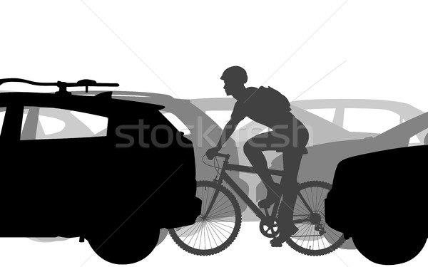 Cyclist in traffic Stock photo © Tawng