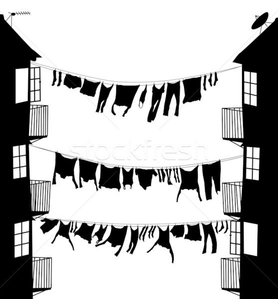 Lavagem beco vetor silhueta enforcamento Foto stock © Tawng