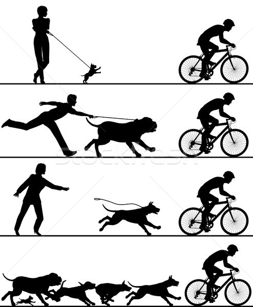 Dogs and cyclist Stock photo © Tawng