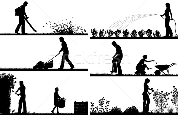 Gardening foreground silhouettes Stock photo © Tawng