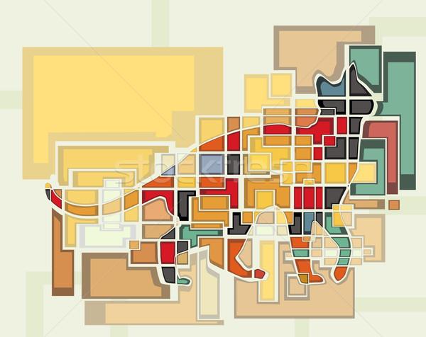 Macska színes absztrakt szerkeszthető vektor mozaik Stock fotó © Tawng