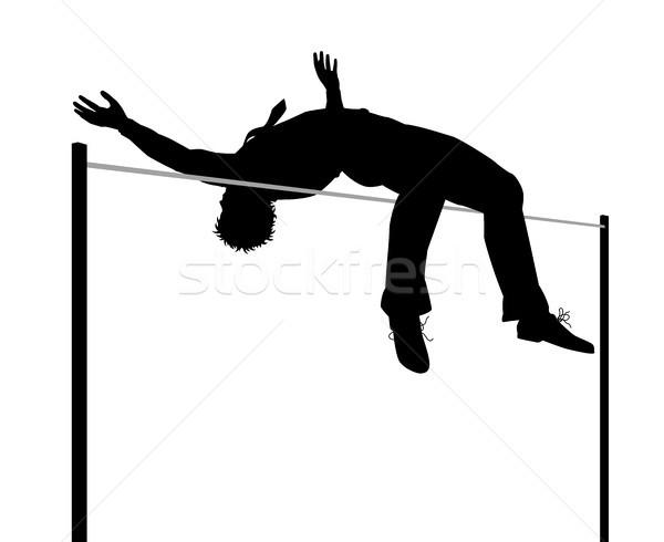 Işadamı yüksek atlama siluet düzenlenebilir vektör örnek Stok fotoğraf © Tawng
