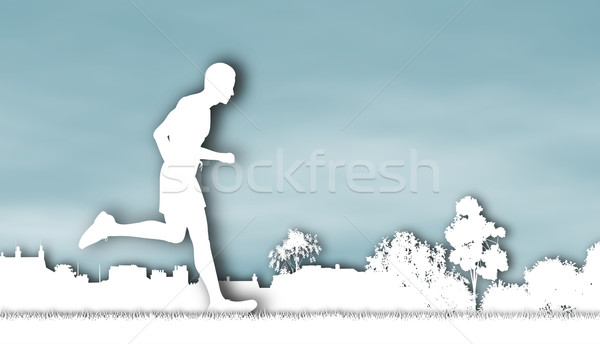 Jogger illustration courir urbaine parc Photo stock © Tawng