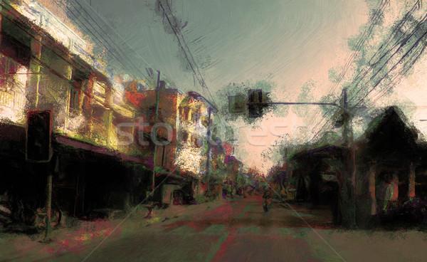 Urbaine rue peinture nord Thaïlande Photo stock © Tawng