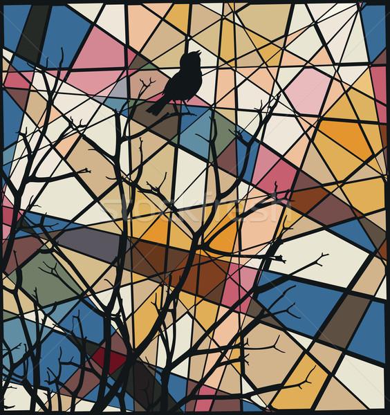 певчая птица мозаика вектора красочный иллюстрация Сток-фото © Tawng