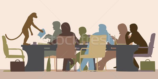 Aap baas eps8 zakelijke bijeenkomst alle Stockfoto © Tawng