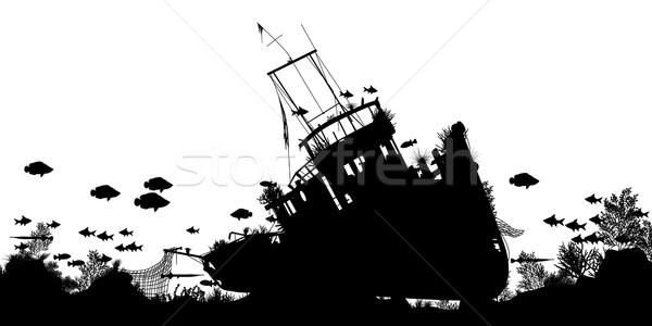Gemi enkazı düzenlenebilir vektör siluet ön plan mercan Stok fotoğraf © Tawng