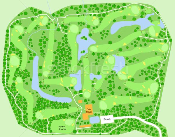 Campo de golfe mapa vetor golfe Foto stock © Tawng