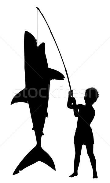 Boy catches shark Stock photo © Tawng