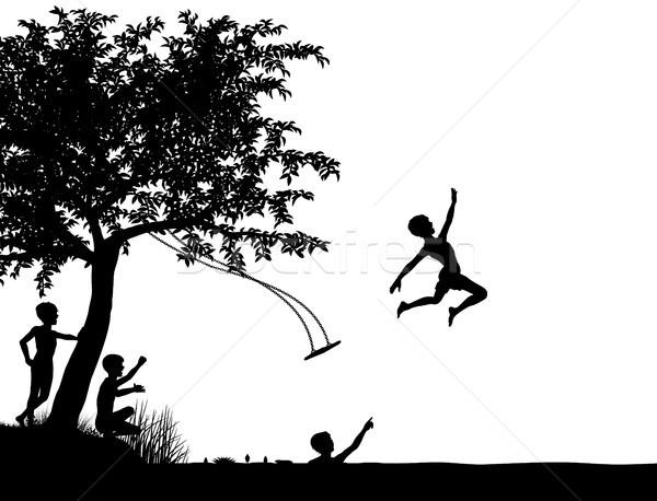 Rivière sauter vecteur silhouette jeunes Photo stock © Tawng