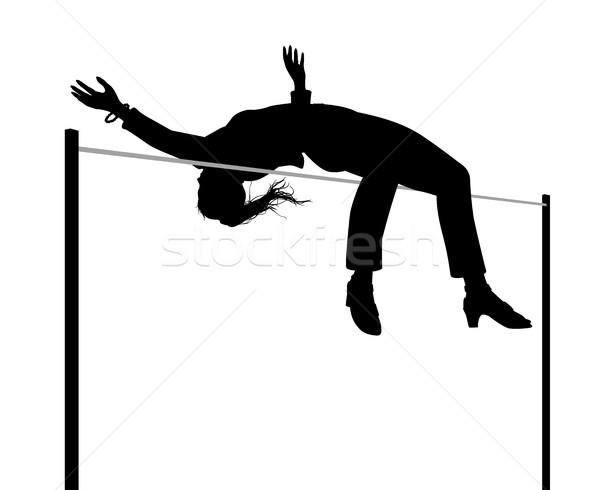 Zakenvrouw hoogspringen silhouet vector illustratie Stockfoto © Tawng