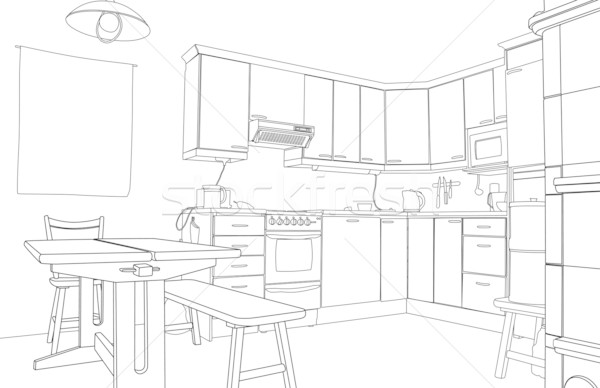 Kitchen sketch Stock photo © Tawng