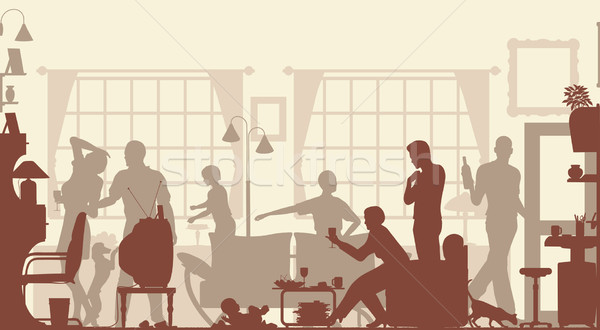 Famille rassemblement premier plan silhouette salon tous Photo stock © Tawng