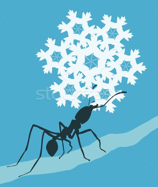 Hópehely hangya eps8 szerkeszthető hordoz kék Stock fotó © Tawng