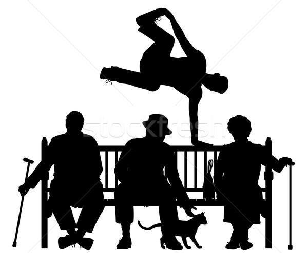 Parc banc vecteur silhouette jeune homme Photo stock © Tawng